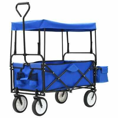 vidaXL Folding Hand Trolley with Canopy Steel Blue Cart Wagon Wheelbarrow