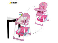 NEW BOXED HAUCK PINK BUTTERFLY SIT N RELAX 2 IN 1HIGHCHAIR LOW CHAIR & BOUNCER SEAT RECLINES
