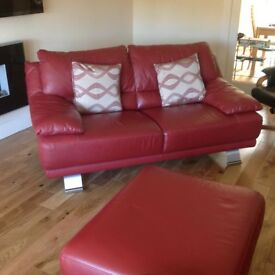 Red Leather Three Puece Suite with Matching Stool
