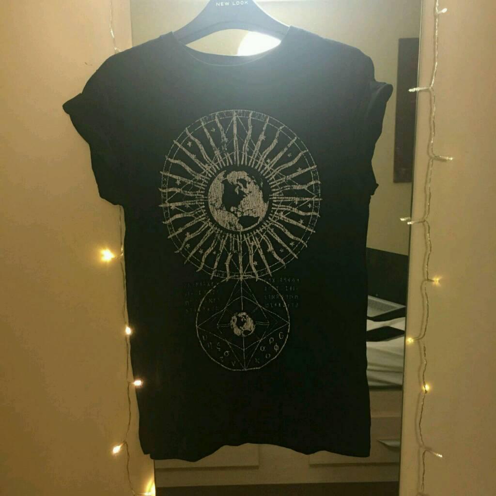 ASOS Black T-Shirt with Sun Dial Moon print