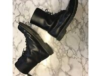 Dr Martens Docs 10 Eyelet Black Smooth Boots, size 10 UK - RRP £150, selling for £65 ono
