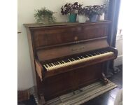 Upright piano - beautifully inlayed woodwork