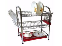 3 Tier Dish Drainer Rack Stand with Dip Tray - Red