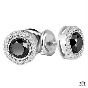 BOUCLES D'OREILLES DIAMANTS NOIRS DE .50 CARAT SUR OR 14K / 14K GOLD AFFORDABLE BLACK DIAMOND EARINGS .50 CTW