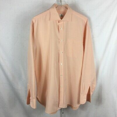 Borrelli Napoli Mens Long Sleeve Designer Dress Shirt Made in Italy Peach 16.5