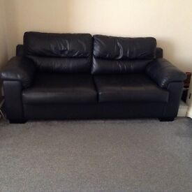 Leather sofa bed & 2 Chairs