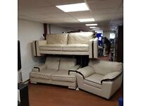 DFS 3,2,1 seater sofa in cream leather with brown trim £299!