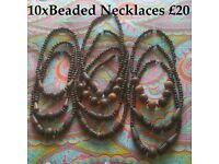 JOB LOT OF 10 FAIR TRADE WOODEN BEADED NECKLACES - NEW