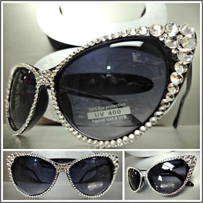 Clásico Elegante Lujo Retro Ojos de Gato Estilo Gafas Sol Bling Cristales...