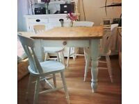PINE FARMHOUSE DINING TABLE + 4 CHAIRS FREE DELIVERY