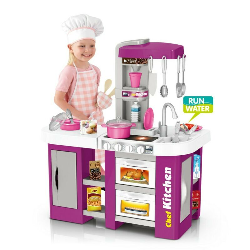 Kitchen Playset For Girls Pretend Play Toy Cooking Set Light