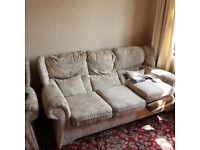3 seater sofa & 2 single arm chairs - FREE
