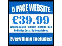 5 PAGE WEBSITE FOR YOUR BUSINESS, FREE DOMAIN & HOSTING! ONLY 39.99