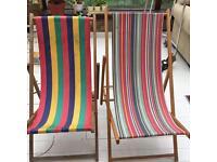 2 vintage seaside deckchairs