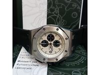 New AP Audemars Piguet Black strap Silver Casing White Face Comes AP Boxed With Paperwork