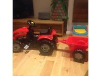 Smoby red toy tractor