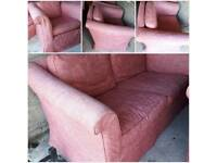 Lovely pink french antique style 3 piece suite 2 seater sofa and 2 arm chairs
