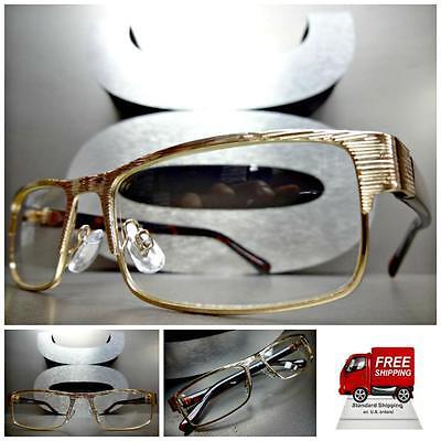 Men or Women CONTEMPORARY MODERN Style Clear Lens EYE GLASSES Gold Fashion Frame