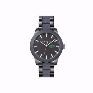 Lacoste Men's Stainless Steel &Black  Silicone Strap Watch 2010923