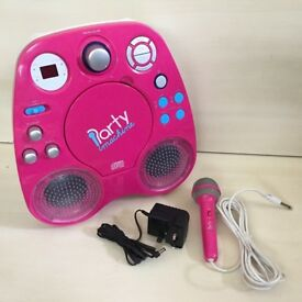PORTABLE PARTY KARAOKE MACHINE SINGING DISCO LIGHTS ECHO SOUND EFFECTS CD PLAYER