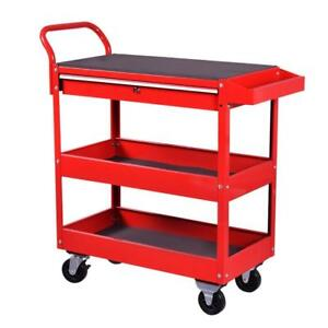 Metal Rolling Tool Cart Storage Chest Box Wheels Storage Trays w/ Locking Drawer - BRAND NEW - FREE SHIPPING