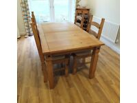 Corona Mexican Pine dining room furniture (table, chairs, sideboard & winerack).