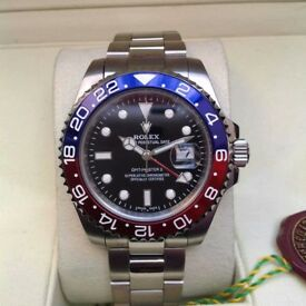 New Mens bagged Silver Bracelet black dial blue red bezel automatic Rolex GMT Master II