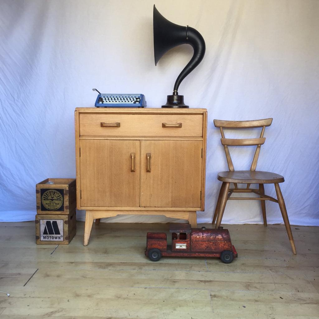 Vintage Gplan Oak Brandon Sideboard Vinyl Record Storage Cabinet 1950s 1960s