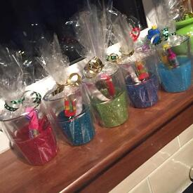 Kids glass with treats. Boys and girls