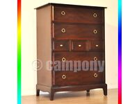 African Cherry Wood Stag Minstrel Chest of 7 Drawers