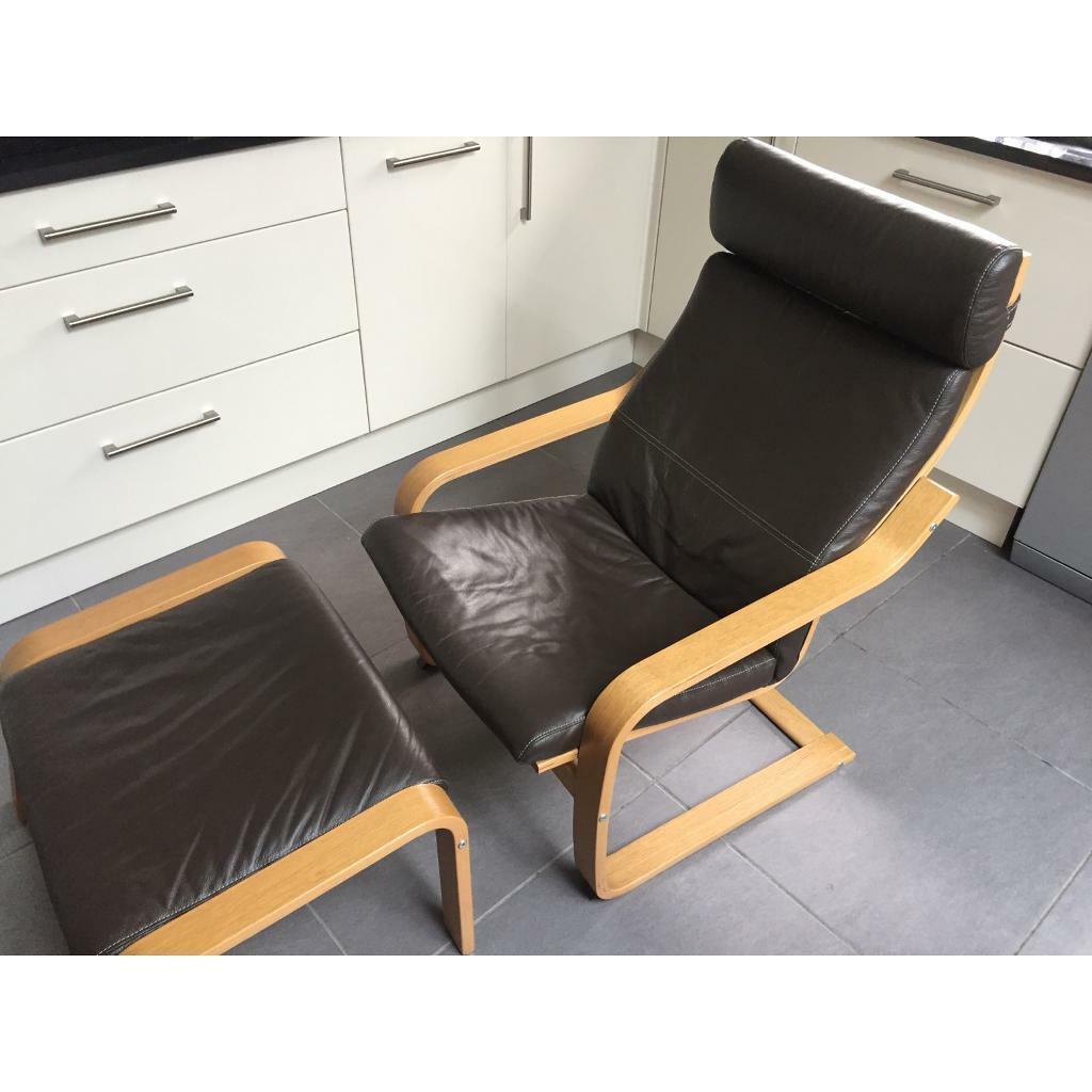 Groovy Ikea Poang Chair And Footstool Dark Brown Leather Oak Veneer Frame In Bexley London Gumtree Machost Co Dining Chair Design Ideas Machostcouk