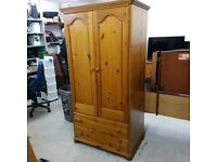 Solid wood wardrobe with 2 drawers