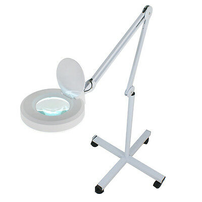 5x Magnifier Lamp Glass Adjustable Rolling Floor Stand Magnifying 16 Diopter