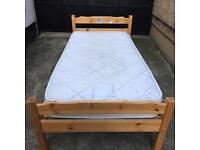 Pine single bed + John Lewis mattress •free delivery •