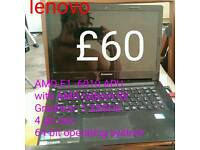 Lenovo 4gb ram laptop AMD E1 -6010 APU with AMD