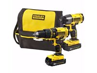 Stanley Fatmax Hammer Drill & Impact Driver, with storage bag, 2x Batteries & Charger. Dewalt Worx