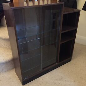 Small dark wood glass-doored bookcase - Collect only