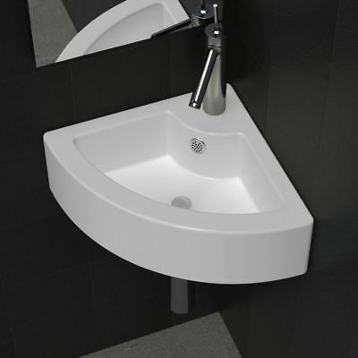 "vidaXL Bathroom Basin Ceramic 17.3""x12.2"" White Washbasin Vessel Sink Bowl"
