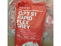 Rapid flex grey 20kg bags £7.50 each or 3 for £20 adhesive for natural stone/tiles