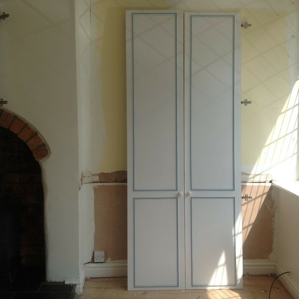 White Wardrobe Doors With Blue Beading Two Pairs Of Doors For Sale