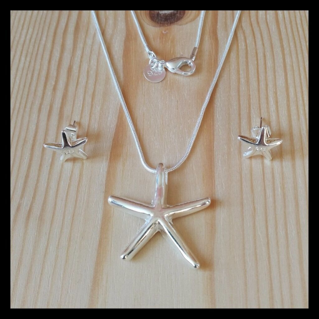 925 Sterling Silver Necklace And Earring Set (Set 3)