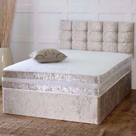 🔥🔥CHEAPEST PRICE EVER🔥🔥 CRUSH VELVET DOUBLE DIVAN BED + SEMI ORTHOPEDIC MATTRESS