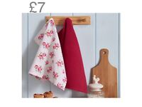 Vintage rose tea towel set