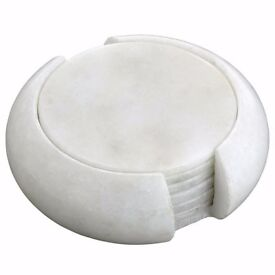 Handmade Indian White Marble Stone Drink Coaster - Home Decor Gifts