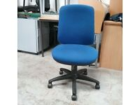 Sven christiansen plc blue fabric operator chair without armrests
