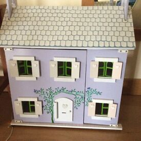 Wooden Painted Dolls House. VGC