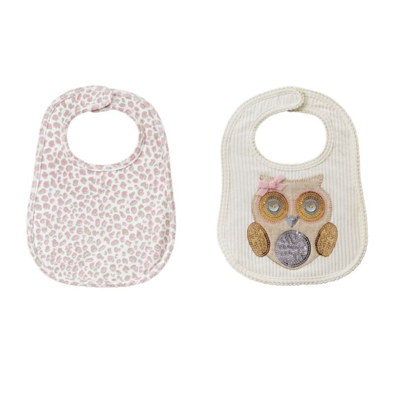 Mud Pie H7 Baby Girl Winter Bird Spotted Owl Feeding Bib 2-piece Set 1552339