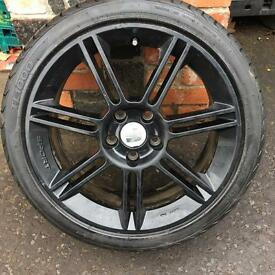 "18"" GENUINE SEAT LEON FR CUPRA MK2 ALLOY WHEELS TYRES BLACK 5x112 GOLF A3 CADDY BBS"