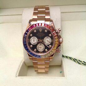 New Mens boxed rose gold bracelet black face rainbow diamond bezel pearl subdials Rolex Daytona aut