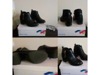Office Black Ankle Boots Block heel Size 4 In original box
